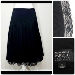 Adrianna Papell Black Lace Detailed Skirt Sz 8